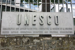 UNESCO sign outside the headquarters in Paris.